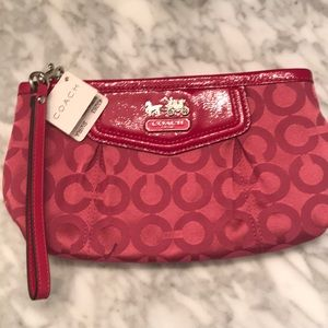 Coach Raspberry Signature Wristlet